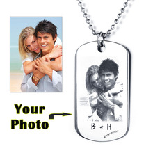 Father's Day Gift Personalized Photo Tag Custom Engraving Picture Text Necklace Stainless Steal Pendant (JewelOra NE101322)(China)