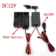 DC12V 8*AA Battery Power Supply Adapter Driver Controller Inverter For 1-30M El Wire Electroluminescent Light,DC To AC