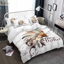 Boho Bedding Set Pink Rose White Comforter Cover Tribal Style Feather Duvet Cover Set 4 Sizes Different Colors Standard(China)