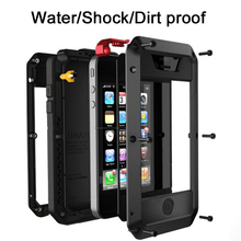 For Apple iPhone 7 X 4 5S SE Case Iron Metal Silicone Tempered Glass Waterproof Doom Rugged Armor Cover Cases for iP6 6S 8 Plus