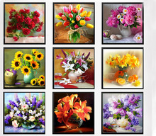 & 9 colors flowers vase resin drill DIY 5D Diamond Embroidery Mosaic crystal diamond Painting Cross Stitch Kits needlework