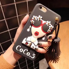 2017 Fashion brand design Cute Korean Glasses Girl Silicone case for iPhone X 8 8Plus 7 7plus 6 6/6s Plus Tassel Drop back case(China)