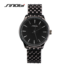 SINOBI Fashion Mens Quartz Watches Classic black Metal Golden Watch Business Males Wristwatch Table Clock(China)