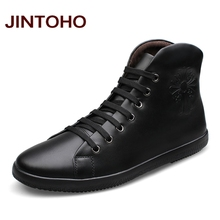 JINTOHO Big Size Men Shoes Fashion Black Men Boots Pointed Toe Genuine Leather Hording Riding Boots Winter Men Shoes With Fur