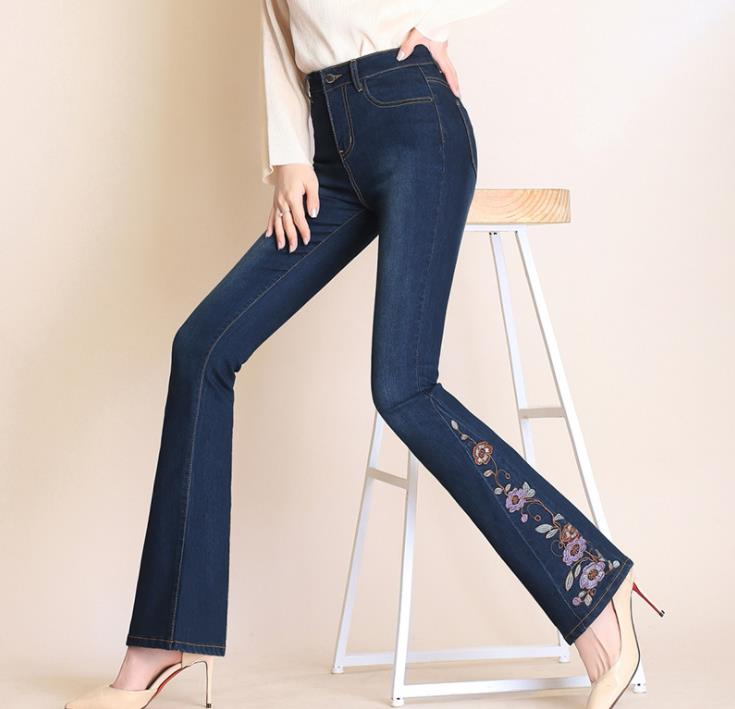 Autumn embroidered jeans women's loose high waist boot cut pant Raw edge stretch pants