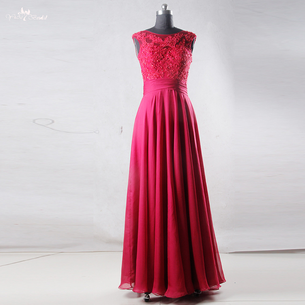 RSE791 Sleeveless Lace Appliques Fuschia Chiffon Prom Dresses Long