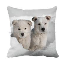cute polar bear in snow field printed customized grey cushion cover home decorative cute animal winter throw pillow case