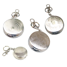 Outdoors Round Cigarette Keychain Portable Ashtrays Stainless Steel Pocket Ashtray (Random Type)(China)