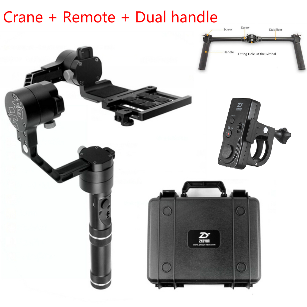 1.8KG ZhiYun Crane V2 3 Axis Stabilizer Handheld DSLR Gimbal Dual handle Wireless remote DSLR Canon SONY A7 GH4 1.8KG