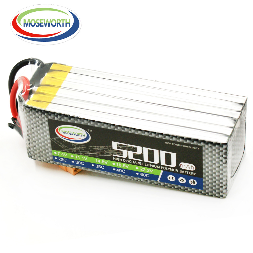 MOSEWORTH RC Drone Lipo battery 6S 22.2V 5200mAh 40C For RC Airplane Quadcopter Car XT60/T RC Lithium batteria cell