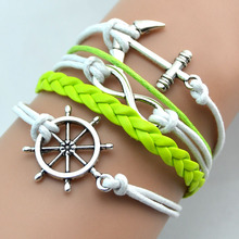 New Silver Anchor Infinity Rudder Green & White Weave PU Imitation Leather Antique White Braid Green Wax Cord Chain Bracelet