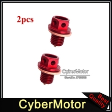 2x Pit Dirt Motor Bike Red Engine Oil Magnetic Drain Bolt Plug For Chinese 50cc 90 110 125 140 150 160 cc Lifan Zongshen Loncin(China)