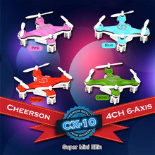 Cheerson CX-10 Mini Pocket Drone Original RC Helicopter 4CH 2.4GHz 6-Axis Gyro LED Light Quadcopter UAV Gift Toys For Kids(China)