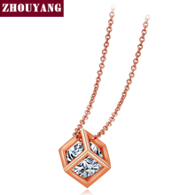 Top Quality ZYN425 Hollow Out Cube Crystal Rose Gold Color Pendant Necklace Jewelry Austrian Crystal Wholesale(China)