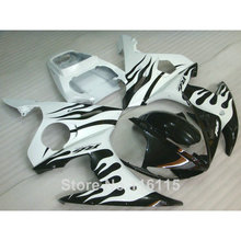 MOTOMARTS Fit for YAMAHA R6 fairing kit 2003 2004 2005 black flames in white YZF R6 fairings set 03 04 05 full kits #116