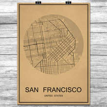 SAN FRANCISCO Vintage Retro Poster World City Map Kraft Paper Wall Art Sticker Antique Painting Living Room Home Decor Cafe Bar(China)