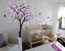 Nursery Children Bedroom Wall Decoration Tree Sticker Blossoms With Flying Birds Home Decor Wall Mural Vinyl Special Decal Y-940