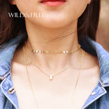 New Luxury Sexy Sequins Statement Choker Necklace For Women Multilayer Alloy Chain Maxi Necklace hollow Chocker Bijoux Jewelry(China)