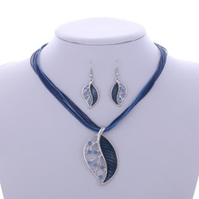 ZOSHI Fashion Jewelry Set Multilayer Leather Chain Leaves Pendant Necklaces Drop Earrings Jewelry Set Factory Wholesale Price