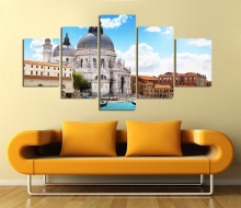 Modern Canvas Painting 5 Pieces Wall Art Italy Venice Landscape Oil Painting Beautiful City River Decorative Picture Home Decor(China)