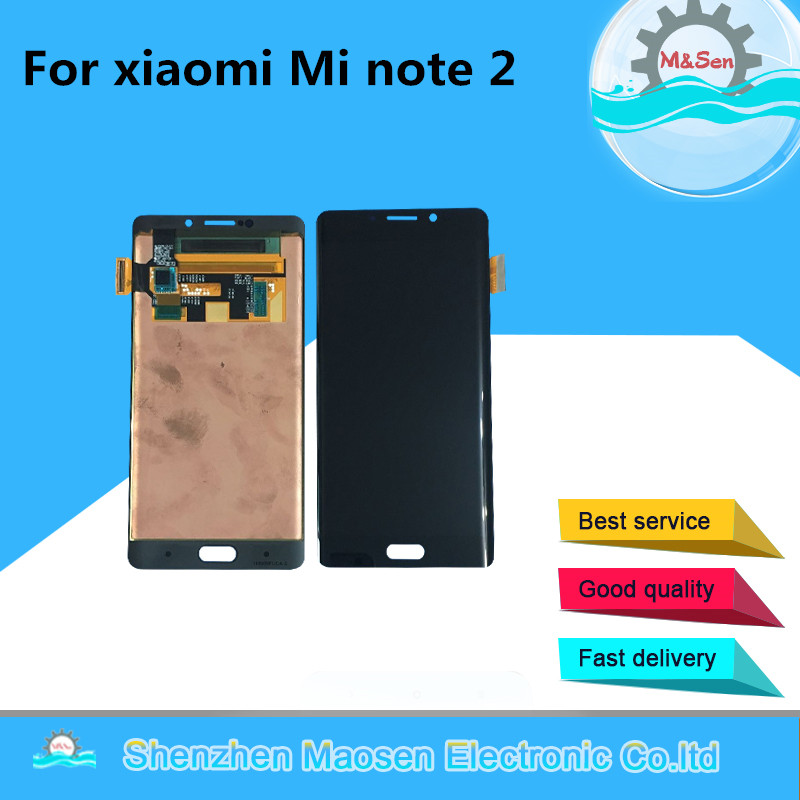 M&Sen For 5.7″ xiaomi note 2 Mi note 2 LCD screen display+ touch panel digitizer Black/Silver gray free shipping