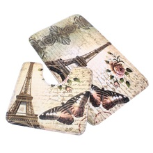 Flower Bath Pedestal Non-Slip Carpet 2Pcs Soft Paris Eiffel Tower Rug Cover Pattern Bathroom Bath Mat Set