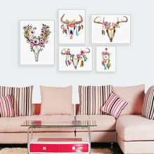 Modern Watercolor Deer Head Skull Poster Print A4 Dream Catcher Feather Wall Art Picture Nordic Hippie Home Deco Canvas Painting