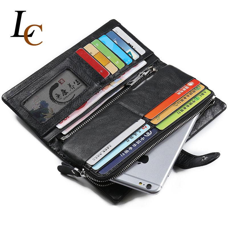 Genuine Leather Wallet Fashion Hasp Purse Soft Long Clutch Walet Men Zipper Carteira Coin Bag Pocket with Card Holder Wallets<br><br>Aliexpress