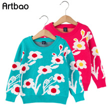 2017 New Spring Autumn Kids Girls Sweater Long Sleeve 1-6T Flower Decoration toddler Girls Knitwear Children Clothing for baby