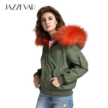 De JAZZEVAR de alta moda de la calle de las mujeres verde del ejército hembra chaqueta de invierno bombardero caliente abrigo con capucha grande de piel de mapache prendas de vestir exteriores