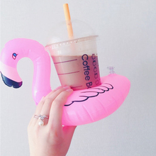 1pcs Cute Funny Inflatable Donuts Flamingo Drink Holder Floating Swimming Stand Pool Can Cell Phone Holders Kids Toy Bath Toy(China)