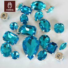 Mix shapes Mix Sizes Aquamarine Sew on Rhinestone Claw 30pcs/bag Glass Sewing Crystal Strass Loose Stone For Garments Y3500