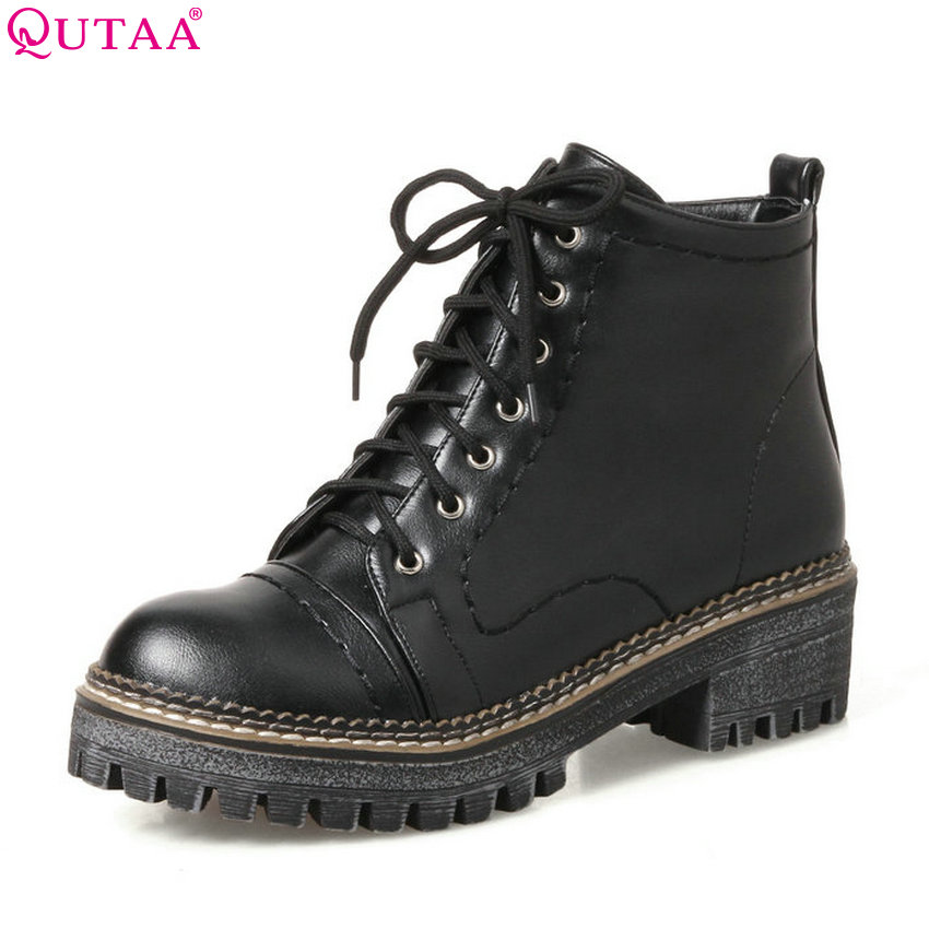 QUTAA 2018 Women Ankle Boots PU Leathersquare Heel Solid Black Round Toe Fashion Lace Up Women Motorcycle Boots Size 34-43<br>
