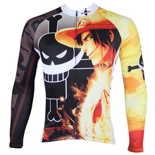 Men Cycling Jersey Anime One Piece Portgas D Ace Men Cycling Clothing Bike Sportwear Bicycle Long Sleeve Cycling Jersey QX140