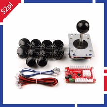 Newest! 1 Palyer Black or Red Arcade Game Machine DIY Parts: Zero Delay USB Encoder+Joysticks+Push Buttons+Cables(China)