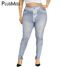 Buy PlusMiss Plus Size 5XL Sexy Jeans Printed Fitness Leggings Women Clothing High Waist Legging Pants Large Size Laggins Femme 2018 for $11.86 in AliExpress store