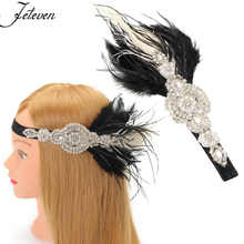 1920's Crystal Rhinestone Feather Great Gatsby Flapper Headwear Headpiece Costume Party Favor Fancy Dress Accessories