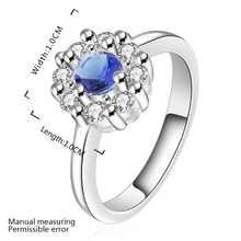 Wholesale Free Shipping silver plated Ring,silver plated Fashion Jewelry big blue stone smile Ring SMTR519