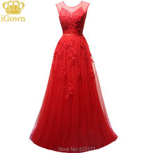 iGown Brand Evening Dress O-Neck Lace Elegant Red Evening Dress Floor-length Party Prom Dress Plus size