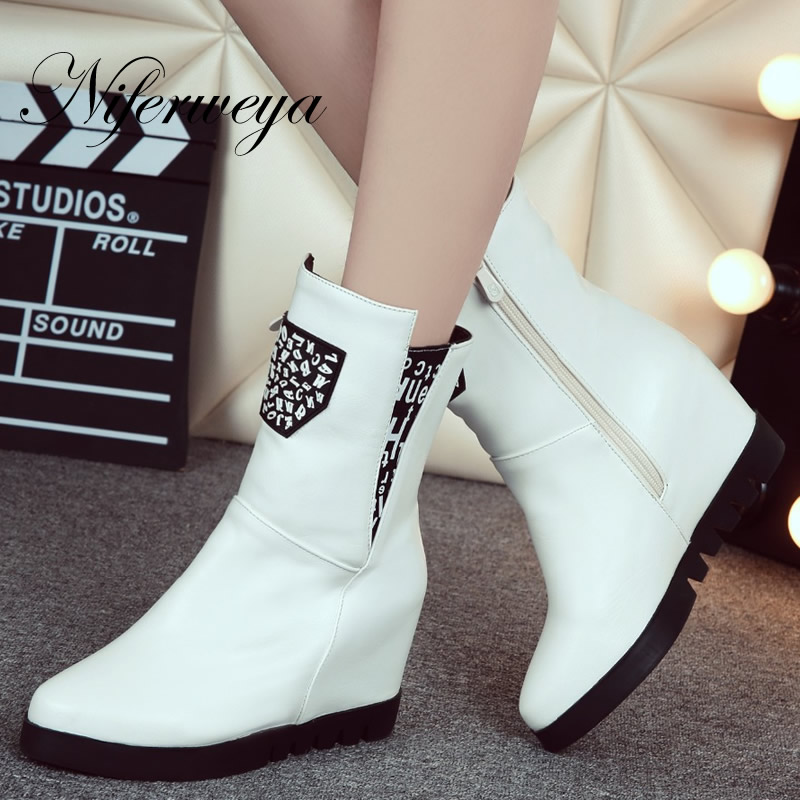 2016 New fashion winter ladies boots big size 33-43 Height Increasing high heel shoes Solid PU leather Round Toe Mid-Calf boots<br>