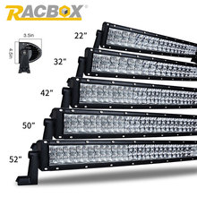 RACBOX 5D 22 32 42 50 52 inch 120W 180W 240W 288 300W Offroad Curved LED Work Light Bar For 4x4 Truck Tractor SUV ATV Combo Beam