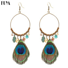 Big Hollow Round&Flowers/Wooden Beads/Coconut Shell Earrings For Women Long Peacock Feathers Tassel Bohemia Pendant Jewelry Boho