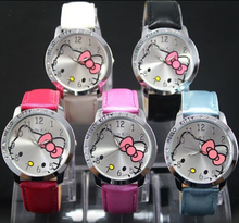 High Quality Cute Hello Kitty Cartoon Watches Children Girls Crystal Dress Quartz Wrist Watch Montre Enfant Mix Color(China)