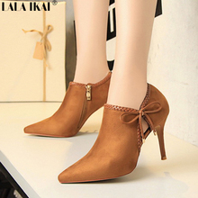 LALA IKAI Ankle Boots For Women Bow Tie Design Extreme High Heels Fashion Summer Boots For Ladies Bota Feminina 040N1377-4