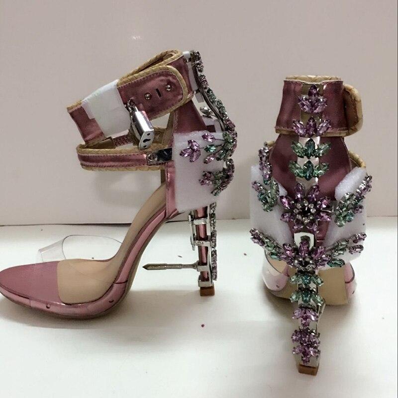 2016 Womens handmade Sandals Shoespie Rhinestones and Metals Designer Sandals sexy Thin Heels Shoes<br><br>Aliexpress
