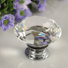 1 pc 2017 New 30mm Diamond Clear Crystal Glass Door Pull Drawer Cabinet Furniture Accessory Handle Knob Screw Hot Worldwide(China)