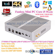 2RJ45 Lan 2HDMI Mini PC Windows 10 Intel Nuc Desktop i5 5257u Iris 6100 16GB RAM 128GB SSD 500GB HDD Linux Ubuntu Small Computer(China)