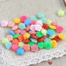 50pcs 13x13mm Cheap MIX Colors Lovely Flower Shape Acrylic beads flatback Cabochon Scrapbooking Craft DIY jewelry Accessories(China)