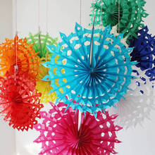 5PCS/Lot 12''(30CM)Hollow Tissue Hanging Paper Fans For Home Garden Wedding / Kids Birthday Party / Baby Shower/ Wall Decoration