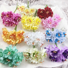 6pcs 4cm Chromatic Chrysanthemum with gauze Stamen Artificial flower bouquet for wedding decoration DIY Scrapbooking Fake Flower
